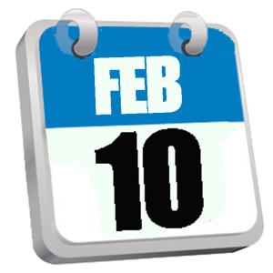 Terminkalender Blatt FEB 10